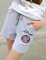 Sign cotton loose big yards leisure shorts flower embroidery stretch knit beach shorts female students