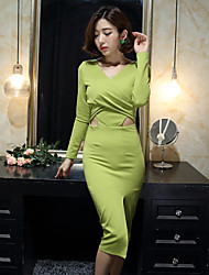 2017 Korean version of Hitz Slim long dress sexy openwork knit long 473,384