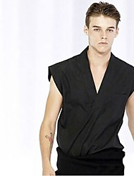 Men's Going out Sports Holiday Boho Punk & Gothic Shirt,Solid Square Neck Sleeveless Cotton