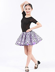 Latin Dance Dresses Women's Kid's Performance Spandex Lace Ruffles Splicing Pattern/Print Polka Dots 1 Piece Short Sleeve Natural Dress