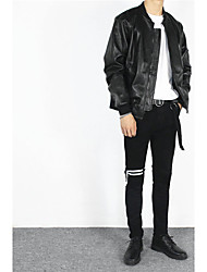 Men's High Rise Micro-elastic Jeans Pants,Simple Skinny Solid