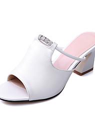 Damen Sandalen Fersenriemen PU Sommer Herbst Kleid Lässig Blockabsatz Weiß Schwarz 5 - 7 cm
