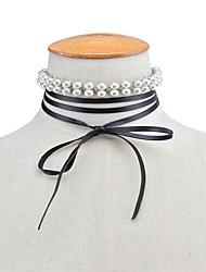 Women's Choker Necklaces Rhinestone Bowknot Imitation Pearl Leather Rhinestone Alloy Imitation Pearl Euramerican Fashion Personalized