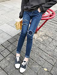 Women's Mid Rise Micro-elastic Jeans Pants,Vintage Slim Solid