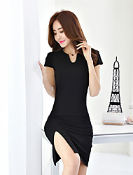 Real shot summer 2017 women's Korean version of the new fashion ladies Slim package hip sexy V-neck dress tide