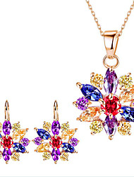 Women's Bridal Jewelry Sets Multi-stone Rhinestone Floral Costume Jewelry Gem Alloy Flower 1 Necklace 1 Pair of Earrings For Party Daily