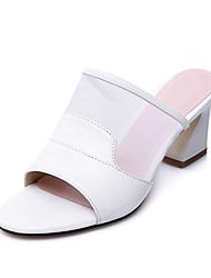 Damen Sandalen Fersenriemen Tüll PU Sommer Herbst Kleid Lässig Blockabsatz Weiß Schwarz 5 - 7 cm