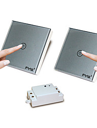 Fyw duplo controle um gangue toque controlador remoto interruptor não há necessidade de cortar a fiação de parede pode ser colado em