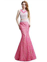 Formal Evening Dress Trumpet / Mermaid Jewel Floor-length Lace Tulle with Beading Lace
