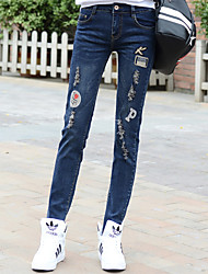 Sign spring new hole in jeans women large size fat MM casual student was thin stretch pants feet
