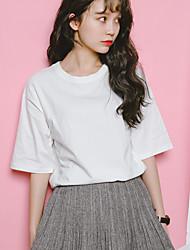 printemps à proximité korean modèles de base simples sauvages de couleur unie divisé coton col rond manches courtes lâche t-shirt