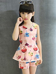 Girls' Going out Casual/Daily Holiday Print Patchwork Sets Cotton Summer Sleeveless Top Shorts 2 Piece Organza Clothing Set
