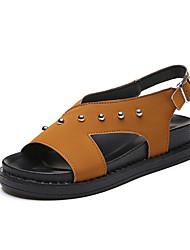 Women's Sandals Gladiator PU Spring Summer Casual Outdoor Gladiator Beading Gore Flat Heel Black Green Dark Brown Flat