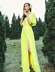 Verão colorido novo sexy suspensórios flounced chiffon vestido corte praia costura vestido