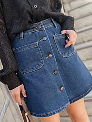 assinar primavera e verão 2017 saia jeans anti esvaziado selvagens uma palavra saias saia jeans