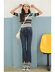 Sign Korea retro bars irregular Slim trousers wide leg pants female jeans pants Weila