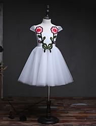 Robe de fille à fleurs en une ligne à genoux - Robe en mousseline de soie en tulle en tulle sans manches avec appliques by lan ting bride®
