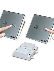 Fyw double contrôle deux gang touch remote control switch pas besoin de couper le câblage mural peut être collé dans n'importe quel