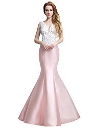 Formal Evening Dress Trumpet / Mermaid V-neck Floor-length Satin with Beading Embroidery