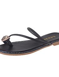 Women's Slippers & Flip-Flops Summer Mary Jane Leatherette Casual Flat Heel Rhinestone Walking