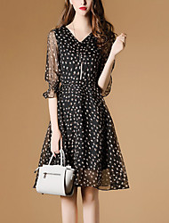 Women's Going out Casual/Daily Simple Cute Sheath Dress,Floral V Neck Above Knee ¾ Sleeve Polyester Spring Summer Mid Rise Inelastic Thin