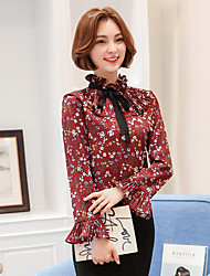 Sign trumpet sleeves 6006 spring retro floral chiffon shirt female shirt was thin lace long-sleeved shirt