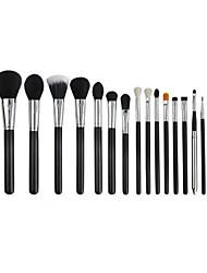 15 Makeup Brush Set Nylon Professional Full Coverage Wood Face