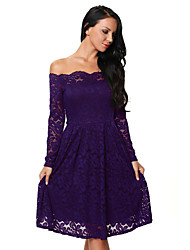 Women's Purple Long Sleeve Floral Lace Boat Neck Cocktail Swing Dress