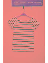 Han mold réel shot 2017 été nouvelle mode slim coréenne rayé col manches courtes t-shirt femmes