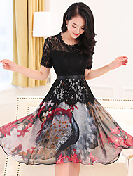 Women's Lace Plus Size Going out Simple A Line Dress,Print Round Neck Midi Short Sleeve Polyester Summer Mid Rise Micro-elastic Medium