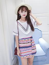 Damen Druck Einfach Ausgehen T-shirt,Rundhalsausschnitt Sommer Kurzarm Kunstseide Dünn