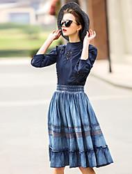 Röcke,Schaukel einfarbigAusgehen Lässig/Alltäglich Mittlere Hüfthöhe Knielänge Elastizität Baumwolle Others Dehnbar Riemengurte