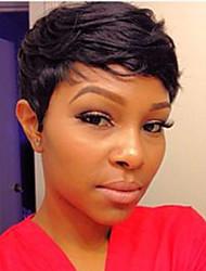 Diy-Wig Short Pixie Hair Black Natural Straight Human Hair Capless Wigs For Women