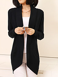 Women's Casual/Daily Simple Summer Trench Coat,Solid Shirt Collar Long Sleeve Long Cotton