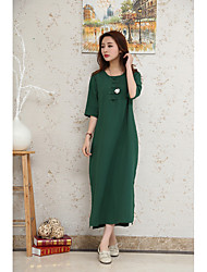 Art Chinese style spring and summer plate buttons cotton dress loose temperament long skirt