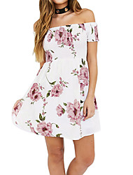 Women's Casual/Daily Work Simple Sheath Lace Dress,Solid Floral Off Shoulder Midi Sleeveless Polyester All Seasons Low Rise Micro-elastic