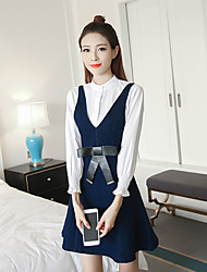 Sinal 2017 primavera nova coreano denim strap vestido