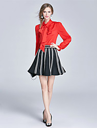 EWUS/Women's Going out Casual/Daily Work Cute Sophisticated Spring Fall Blouse Skirt SuitsSolid Striped Stand Long Sleeve BowPolyester