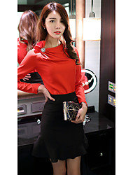 Sign Autumn 2016 Women Korean temperament ladies fashion Slim piles collar long-sleeved shirt hedging