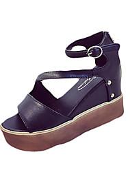 Damen-Sandalen-Lässig-PU-Creepers-Komfort-Weiß Schwarz
