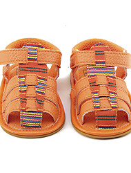 Kids' Baby Sandals First Walkers PU Summer Casual Dress First Walkers Plaid Flat Heel Orange Flat