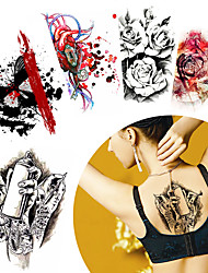 5 Pieces Colored Drawing Flower Arm Back Body Art Temporary Tattoo Sticker Heart Blood Decal Paper