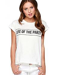 Ebay aliexpress amazon quente novas letras impressas t-shirt em torno do pescoço curto manga t-shirt mulheres sexy