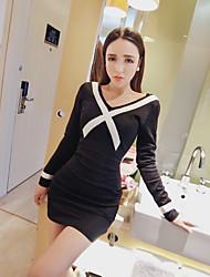 Model real shot! 2017 spring new V-neck long-sleeved dress package hip