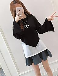 Damen Einfarbig Einfach Lässig/Alltäglich T-shirt,Rundhalsausschnitt Langarm Baumwolle