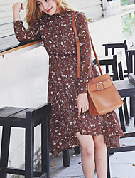 Korean version of spring models long-sleeved floral dress waist elegant fairy long and short in front long section was thin skirt 1