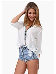 европейские и американские большой ярдов темперамент женские модели с длинными рукавами рубашка вскользь рубашка рубашка шифона блузка