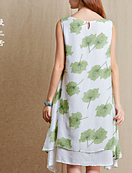 New women's literary style dress round neck sleeveless loose version print dress fake two