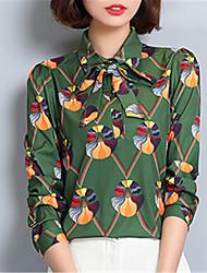 Women's Going out Casual/Daily Work Street chic Spring Summer Shirt,Print Shirt Collar Long Sleeve Polyester Medium