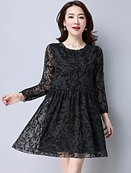 Signe flocage d'impression nouvelle roger coréenne petite robe florale robe grande à manches longues